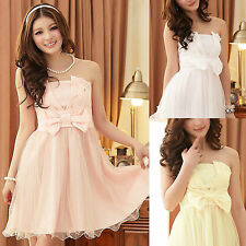 Bow Bridesmaid Strapless gown womens Formal Cocktail Party evening dress prom