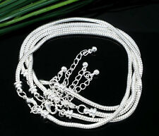 5X Lobster Clasp Silver Snake Chain Bracelet Fit European Charm Beads (16-23cm)