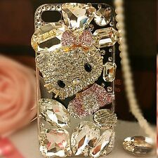 Luxury Handmade Cute Cat Bling Rhinestone Cover Case For iPhone Samsung Galaxy