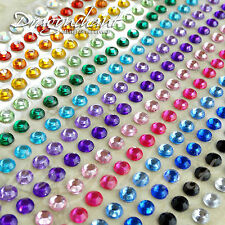 300 4mm Mixed Colour Flatback Rhinestone Stickers Self Adhesive Stick On