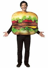 Adult Cheeseburger Costume Cheese Burger Hamburger Fancy Dress Mens Womens NEW