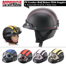 Motorcycle Cruiser Open Face Leather Retro Harley Half Helmet Vintage Goggles