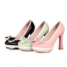 Womens Vintage High Block Heel Bowknot Lolita Leather Pump Court Shoes Plus Size