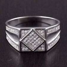 Mens 925 Sterling Silver Micro Pave Setting Cubic Zirconia Ring 10mm Wide