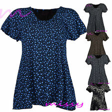 Womens Plus Size Frill PRINTED Gypsy Ladies Tunic Short Sleeve Tops SIZES 12-24