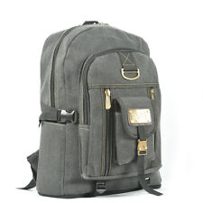 Adjustable Canvas Outdoor Travel Backpack Rucksack Shoulder School Book Bag