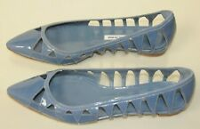 New MANOLO BLAHNIK Blue Denim Patent  Spicchio Ballerina Pointy Flats SHOES 37