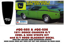 QG-503 QG-526 1971 DODGE CHARGER - HOOD COWL SIDE STRIPES and R/T HOOD DECAL
