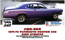 QG-304 1971-72 PLYMOUTH DUSTER 340 - SIDE STRIPE - 340 NOT CONNECTED