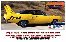 QG-285 1970 PLYMOUTH SUPERBIRD - COMPLETE STRIPE & BIRD DECAL KIT - CHOOSE