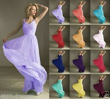 Formal Length V-neck Wedding Evening Ball Gown Party Prom Bridesmaid Dress 6-18
