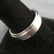 Men TITANIUM RING Brushed with Side Step 7mm Wedding Band Sz 8, 9, 10, 11, 12