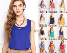 Women' Casual Loose Sleeveless Chiffon Vest Tank T Shirt Blouse Tee Tops summer