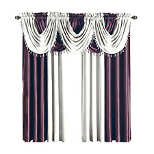 White & Purple Soho Faux Silk Waterfall Window Treatment 1-Panel OR 1-Valance