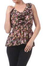 Floral Ruffle Front Chiffon Sleeveless Summer Blouse Top Black Red Pink NEW S
