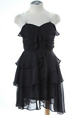 Chiffon Strapless Dress Ruched Top Ruffles Mini Skirt Sexy Goth Black NEW M L