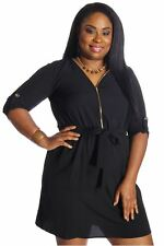 121AVENUE Gorgeous Zipper Neckline Dress 3X Women Plus Size Black Versatile