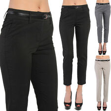 TheMogan Tailored High Waisted Skinny Fit Ankle Trousers With Belt