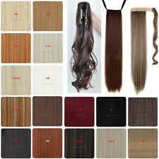 Long Clip in Pony tail hair Extensions Wrap on Ponytail Hair Piece Soft Curly 3I