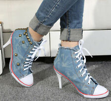 College Women Rivet High Heel Stiletto Cute Canvas Lace Up Sneaker Vintage Shoe