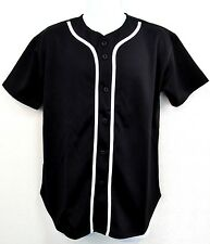 BASEBALL JERSEY T-shirt Blank Full Button Plain Solid Color Adult S-XL Black NWT