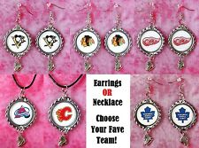 NHL Logo Bottle Cap Earrings OR Necklace w/ Skate Charm - Choose Your Fave Team