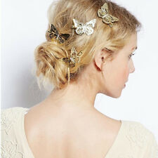 Fashion Vintage Bridal Women Gold Hollow Butterfly Pin HairPins Headpiece