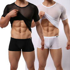 Mens Summer Mesh See-through Sexy Skin Tight Fitted Short Sleeve T-shirt Clothes