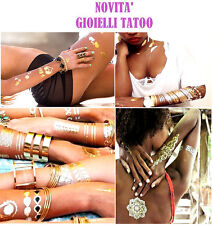 FLASH TATOO METALLO GOLD ADESIVI TEMPORANEI CORPO STICKERS BRACCIALETTI BIJOUX