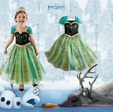 NTW Girls Kids Princess Frozen Anna Cosplay Costume Party Dress Size:2-10