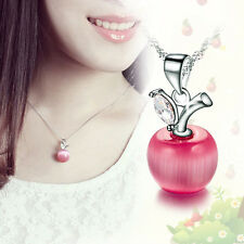 Hot Fashion Silver Plated  Necklace Charm Small Apple Opal Pendant