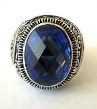 man's stainless steel big oval shape light blue sapphire stone ring size 8-15
