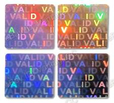 """""""VALID"""" Hologram Stickers, NUMBERED 15mm Square Warranty Labels, Silver, VOID"""