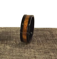 TITANIUM Koa Grain Real Wood Inlay Black Polished Mens Wedding Ring New Band 8mm