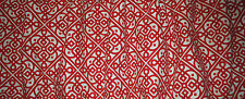 New scarlet RED ivory LACE medium DRAPERY weight fabric window  VALANCE lined