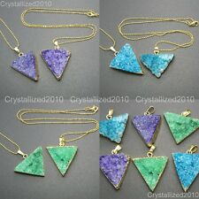 Natural Druzy Quartz Agate Gemstone Triangle Necklace Healing Beads 18K Gold