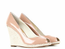 Michael Kors Dark Nude Patent Leather Keegan Wedge Shoes Brand New With Box