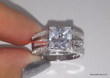 925 Sterling Silver Princess CZ Wedding Set Ring Size 6.5 Women's