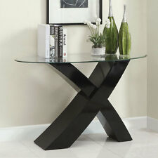 Mores Contemporary Style Black Lacquer Finish Console Table