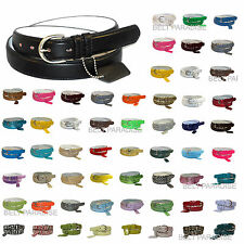NWT WOMEN/LADIES SKINNY LEATHER BELT 4 sz Avail - S / M / L / XL / 60 COLORS