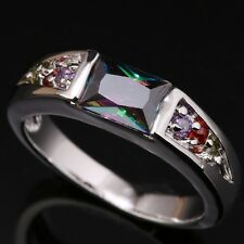 Rainbow Topaz Multicolor Morganite Gems Silver Rings US#Size5 6 7 8 9 T0830