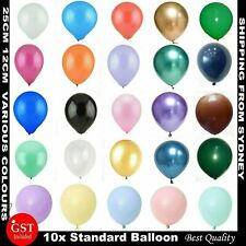 10X LATEX STANDARD BALLOONS Party Wedding Air Helium Quality colour