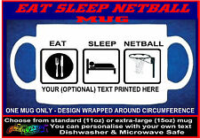EAT SLEEP NETBALL funny MUG personalised keep calm gift for player coach or team