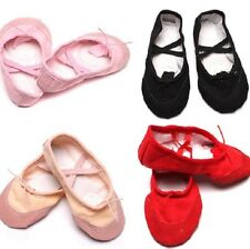 Cute Kids Girls Ballet Dance Fitness Shoes Comfy Canvas Ballet Slipper Shoes LJ