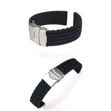 Mens Black Waterproof Silicone Rubber Deployment Buckle Watch band Strap 18-24mm