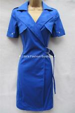 KAREN MILLEN RRP £160 BLUE COTTON WORK LADIES TRENCH SHIRT WRAP DRESS SIZE 8-16