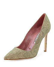 New Manolo Blahnik BOBBY Pink Gold Iridescent Brocade Shoes Pumps BB 39 40 40.5