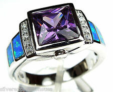 Amethyst & Blue Fire Opal Inlay 925 Sterling Silver Men's, Woman Ring Sz 6-9