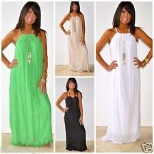 Malibu Beach Halter Tie Flowy Maxi Dress Solid LIME WHITE BLACK KHAKI XS S M L