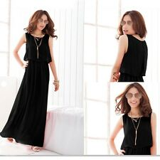 New Korean Summer Fashion Sexy Womens Boho Chiffon Party Maxi Dress Sundress